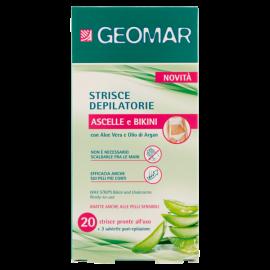 Geomar Strisce Depilatorie Ascelle e Bikini 20 pz + 3 salviette